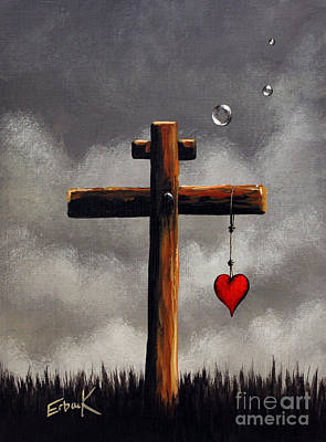 The Wooden Cross Painting - Grace Lives Here By Shawna Erback by Shawna Erback