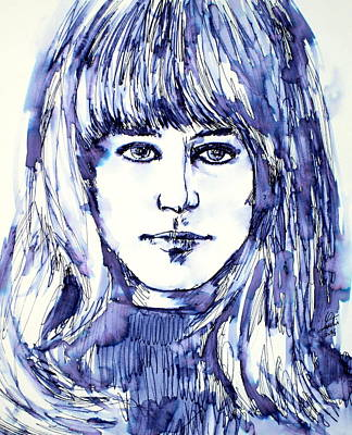Grace Slick Painting - Grace Slick - Portrait by Fabrizio Cassetta
