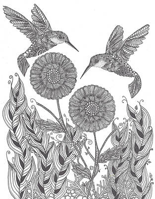 Graceful Humming Birds Art Print