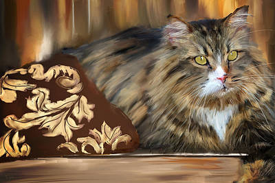 Cat Lover Painting - Graceful Sit by Lourry Legarde