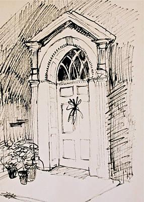 Autumn Scene Drawing - Gracious Doorway With Indian Corn by Deborah Dendler