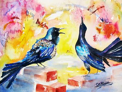 Painting - Grackles And Graffiti  by Carlin Blahnik