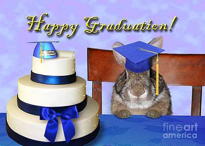 Diploma Digital Art - Graduation Bunny Rabbit by Jeanette K