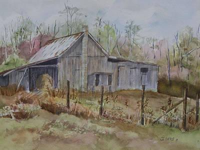 Felt Painting - Grady's Barn by Janet Felts