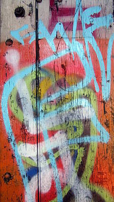 Photograph - Graffiti Blue Close Up by Anita Burgermeister