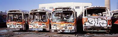 Bus Photograph - Graffiti Buses At Junkyard, San by Panoramic Images