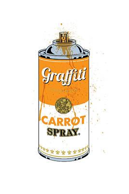 Carrot Digital Art - Graffiti Carrot Spray Can by Gary Grayson
