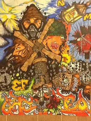 Solider Drawing - Graffiti Chaos  by Noah Morrow