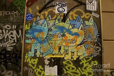 Mixed Media - Graffiti Dogs by Louise Fahy