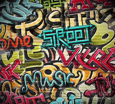 Art Wall Street Wall Art - Digital Art - Graffiti Grunge Texture. Eps 10 by Lonely