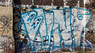 Photograph - Graffiti In Blue And White by Anita Burgermeister