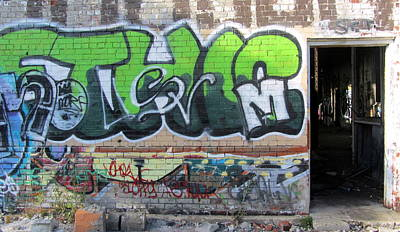 Photograph - Graffiti In Green And Door by Anita Burgermeister