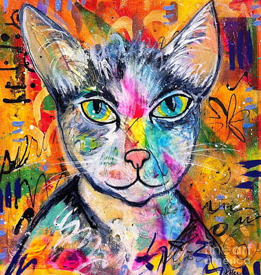 Painting - Graffiti Kitty  by Kim Heil