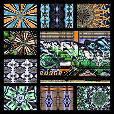 Kaleidoscope Photograph - Graffiti - Long Train Running Left by Graffiti Girl
