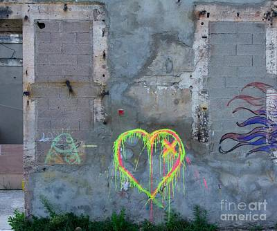 Destruction Photograph - Graffiti On A Wall Damaged. France. Europe. by Bernard Jaubert