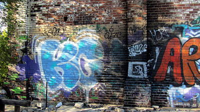 Photograph - Graffiti On Brick Wall by Anita Burgermeister