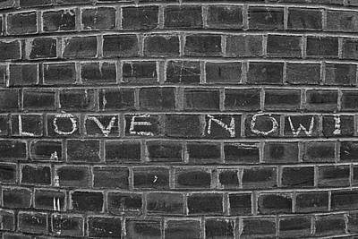 Graffiti On Curved Brick Wall Print by Robert Ullmann