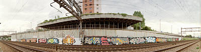 Graffiti On The Wall Along A Railroad Art Print by Panoramic Images