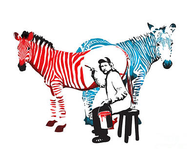 Stencil Digital Art - Graffiti Print Of Rembrandt Painting Stripes Zebra Painter by Sassan Filsoof