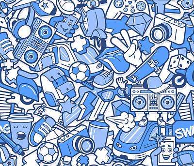 Art Prints Digital Art - Graffiti Seamless Pattern With Boys by Aerial3