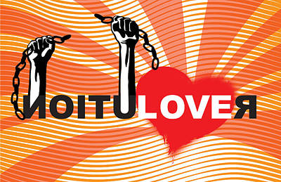 Sun Rays Digital Art - Graffiti Style Illustration Slogan Love Revolution by Sassan Filsoof