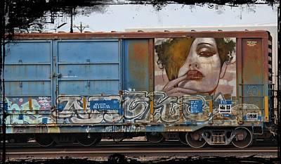 Nude Girl Photograph - Graffiti - Woman And Blue Doors by Graffiti Girl
