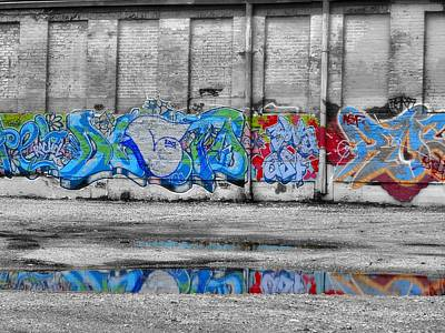 Graffiti Work Downtown Reflection Art Print