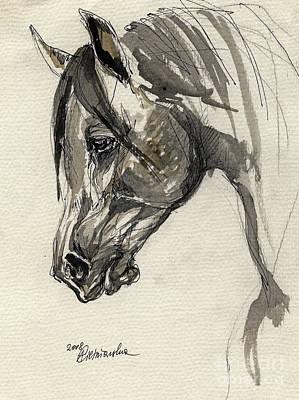 Grafik Polish Arabian Horse Ink Drawing Original