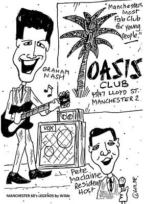 Paul Nash Mixed Media - Graham Nash At The Oasis Club Manchester Sixties Legends By Wilde by Paul Wilde
