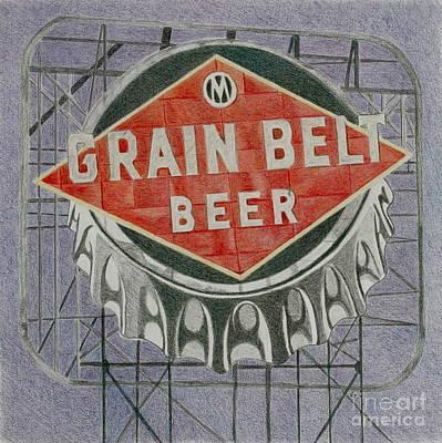 Beer Drawings - Grain Belt Beer by Glenda Zuckerman