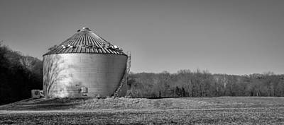 Photograph - Grain Bin With Tree Shadow by Wayne Meyer