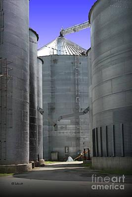 Mixed Media - Grain Bins by E B Schmidt