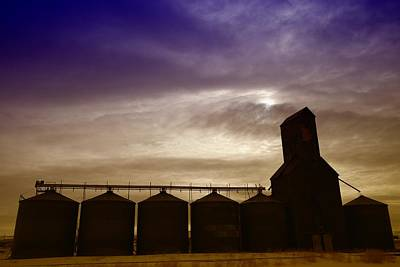 Grain Bins In Reserve Montana Print by Jeff Swan