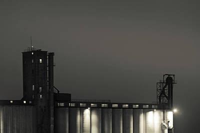 Grain Elevator At Night, Dodge City Art Print