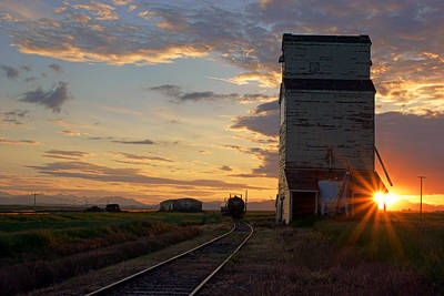 Photograph - Grain Elevator At Sunset by Daniel Woodrum