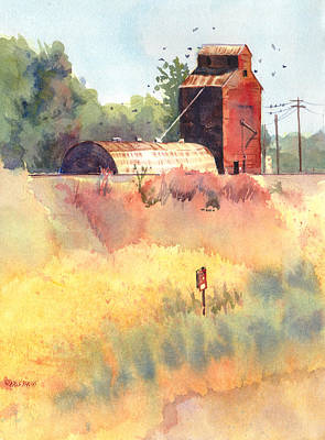 Wisconsin Artist Painting - Grain Elevator by Kris Parins