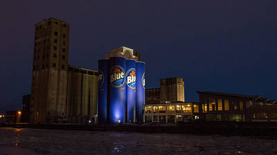 Photograph - Grain Elevators At Night by Guy Whiteley
