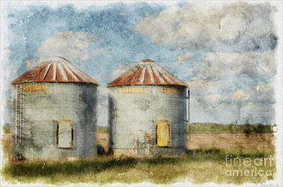 Photograph - Grain Silos - Digital Paint by Debbie Portwood