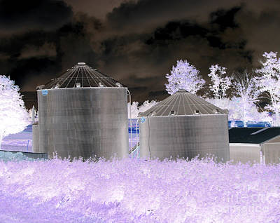 Negative Effect Digital Art - Grain Silos Oneida New York Inverted Effect by Rose Santuci-Sofranko