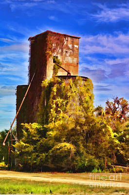 Photograph - Grain Silos With Digital Painted Effect by Debbie Portwood
