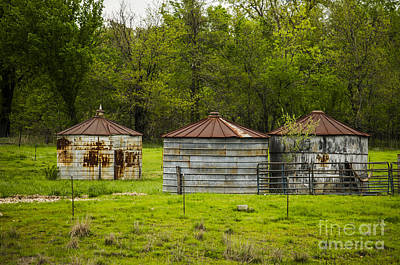 Photograph - Grain Storage On The Farm Baxter Springs Kansas by Deborah Smolinske