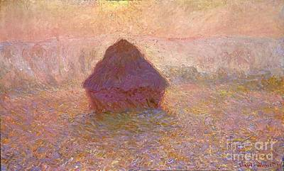 Mist Painting - Grainstack Sun In The Mist 1891 by Claude Monet