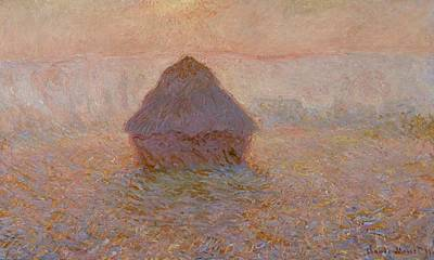French Signs Painting - Grainstack  Sun In The Mist by Claude Monet