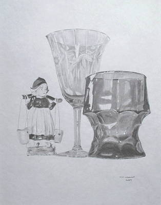 Still Life Drawings - Grammas Glasses by Mary Ellen Mueller Legault
