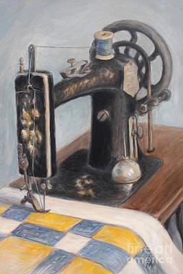 Machine Quilt Painting - Gramma's Machine by Linda Hall