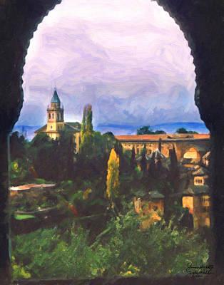 Art Print featuring the digital art Granada Through The Keyhole by Spyder Webb