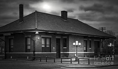 Moonlit Night Photograph - Train Depot At Night - Noir by Robert Frederick