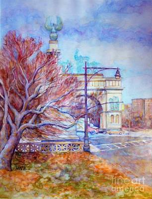 Painting - Grand Army Plaza With Lamppost And Tree by Nancy Wait