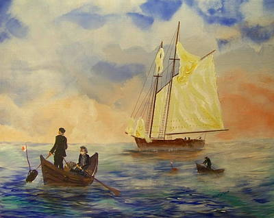 Bluenose Painting - Grand Banks Fishing Circa 1875 by Rich Mason