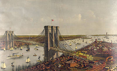 Grand Birds Eye View Of The Great East River Suspension Art Print by Litz Collection